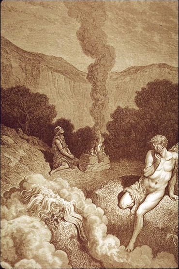 Cain and Abel Offering their sacrifices - Gustav Doré