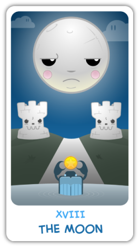The Moon, from the Chibi Tarot