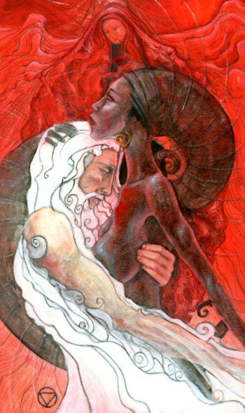 The Lovers, from the Mary-El deck. It is no surprise to me that this is also 'my' tarot card.