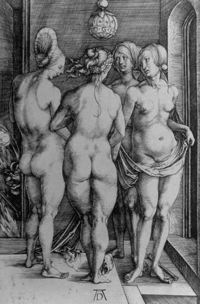 Albrecht Durer's Four Witches, also known as Vier Hexen, 1497.